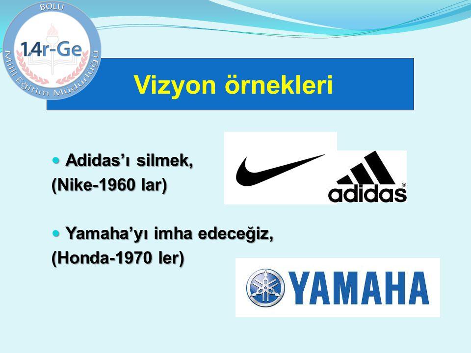 Vizyon örnekleri Adidas'ı silmek, Adidas'ı silmek, (Nike-1960 lar) Yamaha'yı imha edeceğiz, Yamaha'yı imha edeceğiz, (Honda-1970 ler)