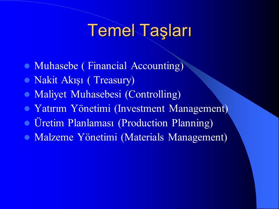 Temel Taşları Muhasebe ( Financial Accounting) Nakit Akışı ( Treasury) Maliyet Muhasebesi (Controlling) Yatırım Yönetimi (Investment Management) Üretim Planlaması (Production Planning) Malzeme Yönetimi (Materials Management)