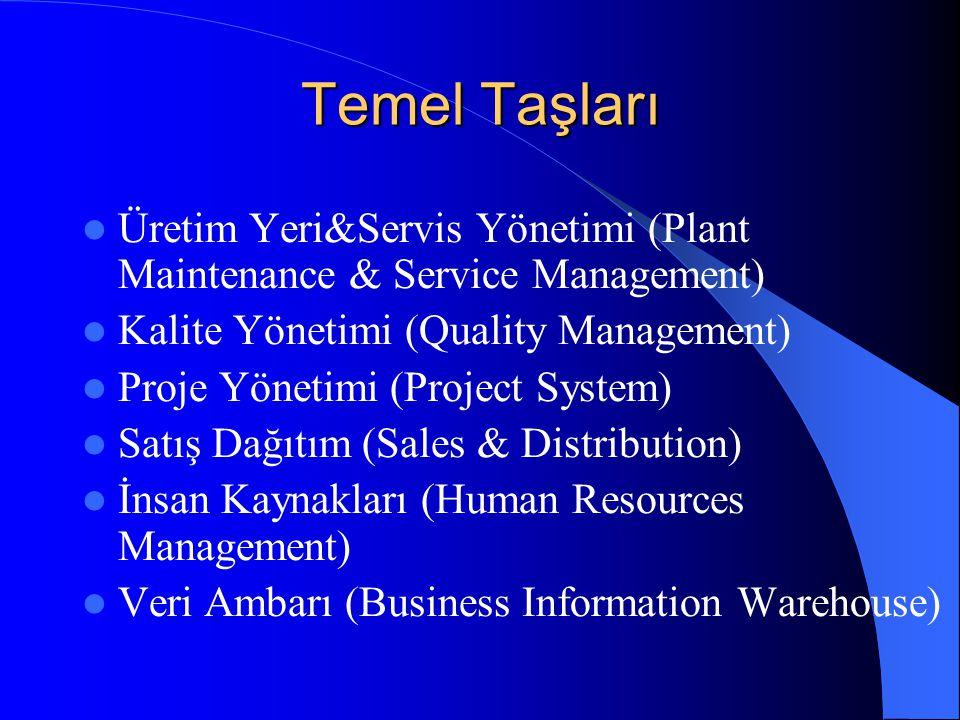 Temel Taşları Üretim Yeri&Servis Yönetimi (Plant Maintenance & Service Management) Kalite Yönetimi (Quality Management) Proje Yönetimi (Project System) Satış Dağıtım (Sales & Distribution) İnsan Kaynakları (Human Resources Management) Veri Ambarı (Business Information Warehouse)