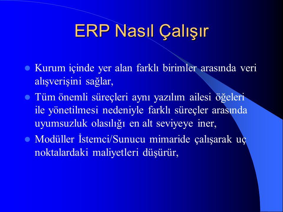 ERP Nasıl Çalışır Kurum içinde yer alan farklı birimler arasında veri alışverişini sağlar, Tüm önemli süreçleri aynı yazılım ailesi öğeleri ile yöneti