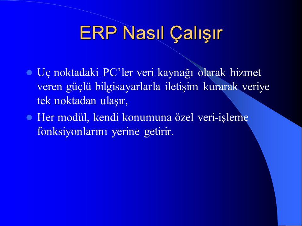 ERP Nasıl Çalışır Uç noktadaki PC'ler veri kaynağı olarak hizmet veren güçlü bilgisayarlarla iletişim kurarak veriye tek noktadan ulaşır, Her modül, kendi konumuna özel veri-işleme fonksiyonlarını yerine getirir.