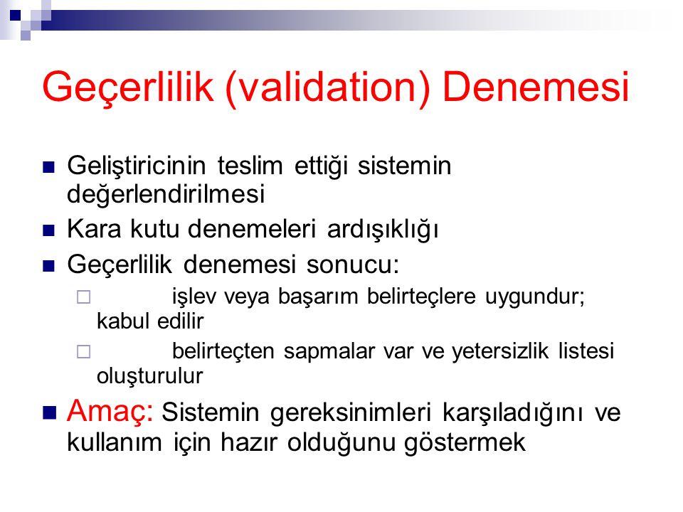 Geçerlilik (validation) Denemesi Geliştiricinin teslim ettiği sistemin değerlendirilmesi Kara kutu denemeleri ardışıklığı Geçerlilik denemesi sonucu: