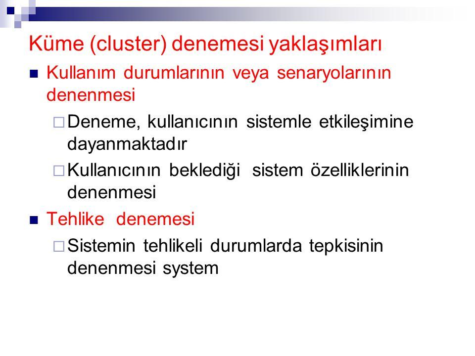 Küme (cluster) denemesi yaklaşımları Kullanım durumlarının veya senaryolarının denenmesi  Deneme, kullanıcının sistemle etkileşimine dayanmaktadır 