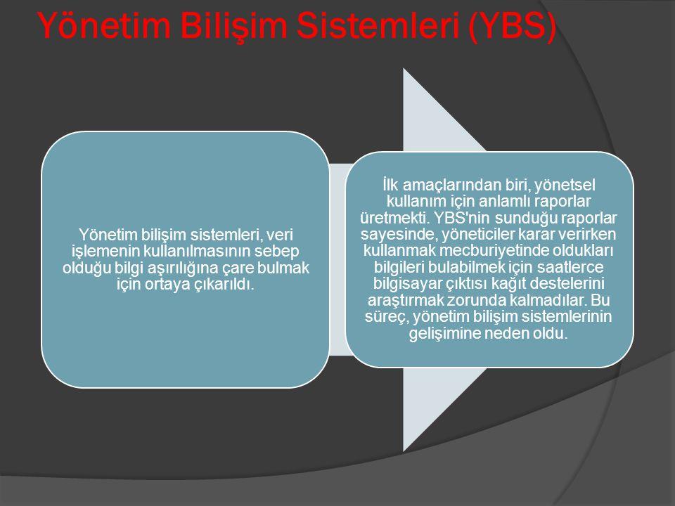 Yönetim Bilişim Sistemleri (YBS) Yönetim bilişim sistemleri, veri işlemenin kullanılmasının sebep olduğu bilgi aşırılığına çare bulmak için ortaya çık