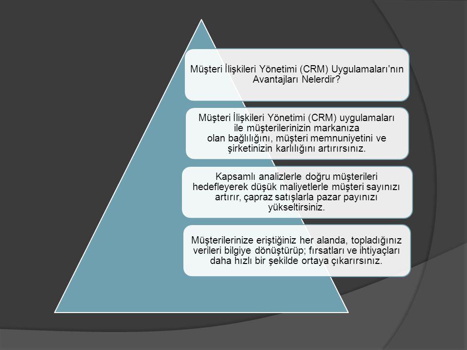 Müşteri İlişkileri Yönetimi (CRM) Uygulamaları'nın Avantajları Nelerdir? Müşteri İlişkileri Yönetimi (CRM) uygulamaları ile müşterilerinizin markanıza