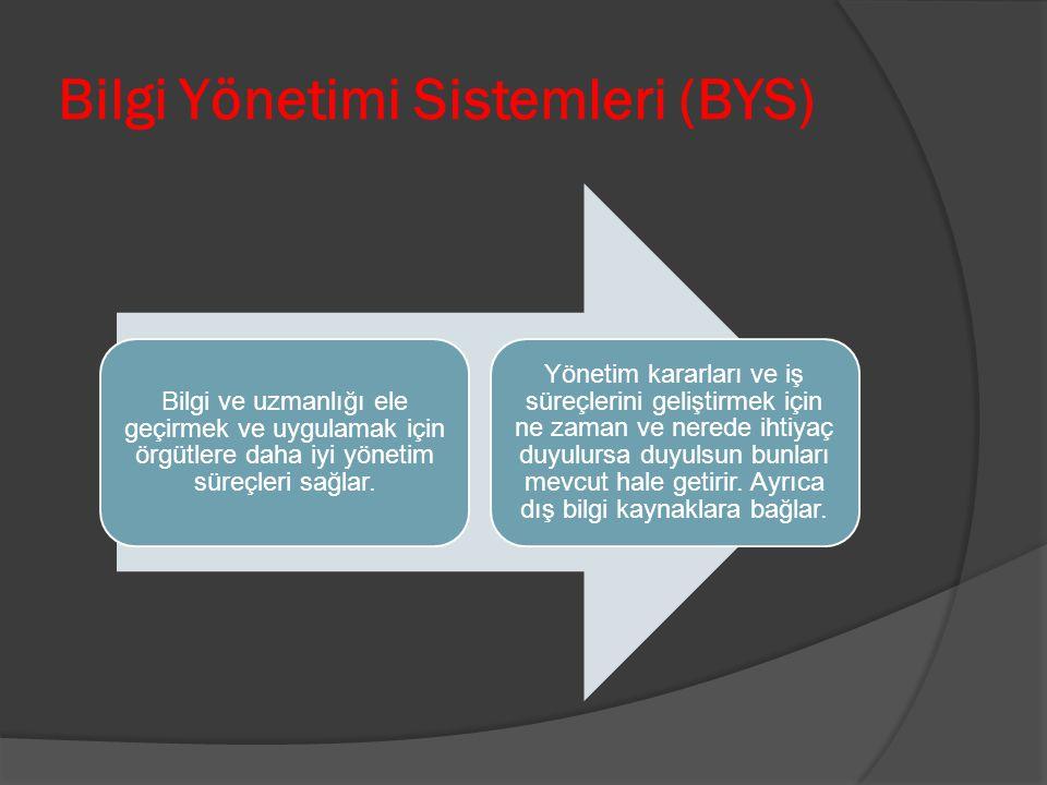 Bilgi Yönetimi Sistemleri (BYS) Bilgi ve uzmanlığı ele geçirmek ve uygulamak için örgütlere daha iyi yönetim süreçleri sağlar. Yönetim kararları ve iş