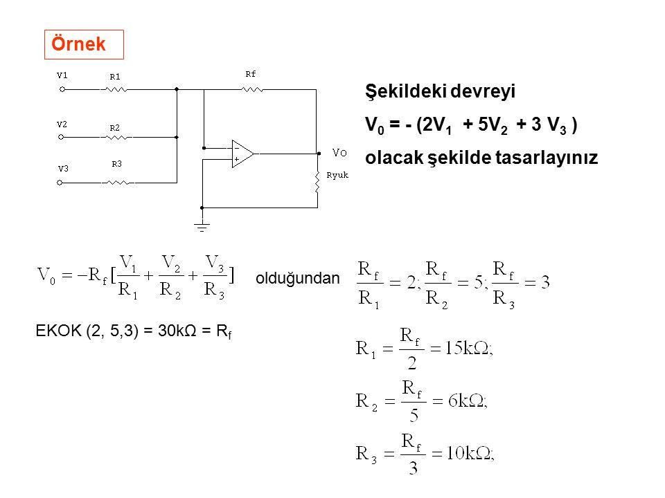 Örnek Şekildeki devreyi V 0 = - (2V 1 + 5V 2 + 3 V 3 ) olacak şekilde tasarlayınız olduğundan EKOK (2, 5,3) = 30kΩ = R f