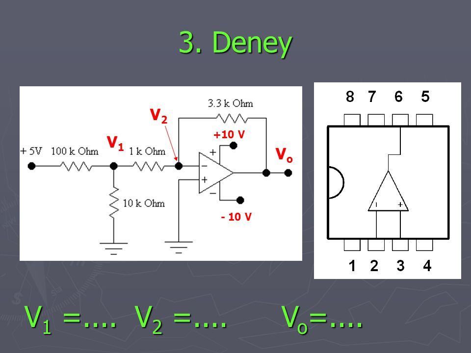 3. Deney +10 V - 10 V VoVo V1V1 V2V2 V 1 =.... V 2 =.... V o =....