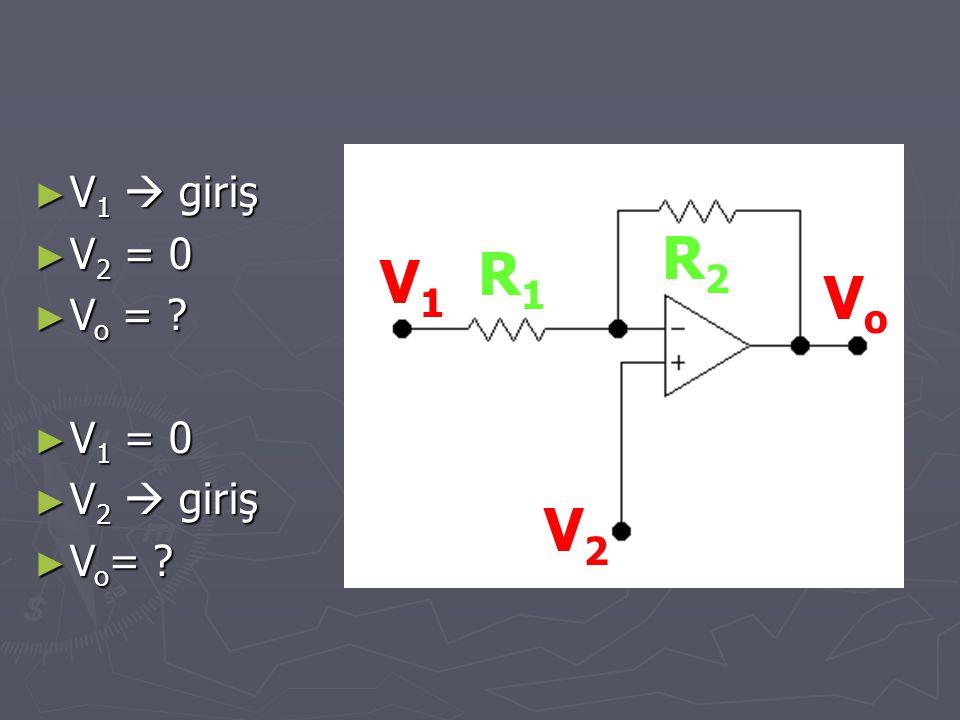 V2V2 V1V1 VoVo R1R1 R2R2 ► V 1  giriş ► V 2 = 0 ► V o = ? ► V 1 = 0 ► V 2  giriş ► V o = ?