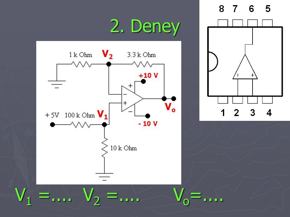 2. Deney +10 V - 10 V VoVo V1V1 V2V2 V 1 =.... V 2 =.... V o =....