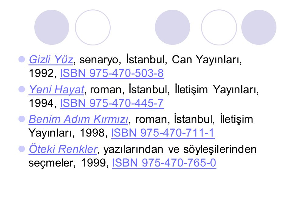 Gizli Yüz, senaryo, İstanbul, Can Yayınları, 1992, ISBN 975-470-503-8 Gizli YüzISBN 975-470-503-8 Yeni Hayat, roman, İstanbul, İletişim Yayınları, 1994, ISBN 975-470-445-7 Yeni HayatISBN 975-470-445-7 Benim Adım Kırmızı, roman, İstanbul, İletişim Yayınları, 1998, ISBN 975-470-711-1 Benim Adım KırmızıISBN 975-470-711-1 Öteki Renkler, yazılarından ve söyleşilerinden seçmeler, 1999, ISBN 975-470-765-0 Öteki RenklerISBN 975-470-765-0