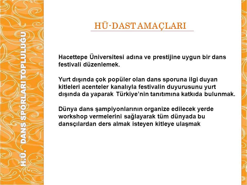 HÜ-DAST AMAÇLARI Hacettepe Üniversitesi adına ve prestijine uygun bir dans festivali düzenlemek. Yurt dışında çok popüler olan dans sporuna ilgi duyan