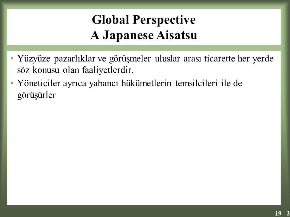 19 - 2 Global Perspective A Japanese Aisatsu Yüzyüze pazarlıklar ve görüşmeler uluslar arası ticarette her yerde söz konusu olan faaliyetlerdir. Yönet