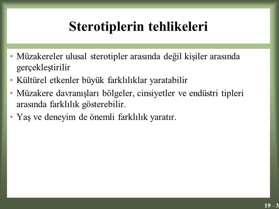 19 - 3 Sterotiplerin tehlikeleri Müzakereler ulusal sterotipler arasında değil kişiler arasında gerçekleştirilir Kültürel etkenler büyük farklılıklar