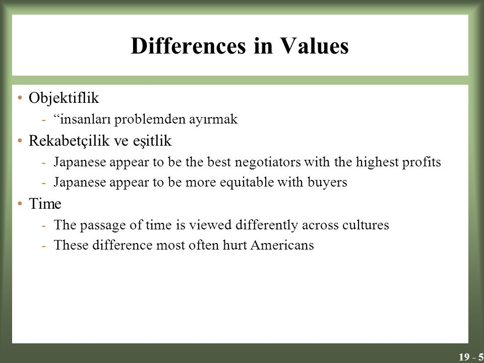 19 - 5 Differences in Values Objektiflik - insanları problemden ayırmak Rekabetçilik ve eşitlik -Japanese appear to be the best negotiators with the highest profits -Japanese appear to be more equitable with buyers Time -The passage of time is viewed differently across cultures -These difference most often hurt Americans
