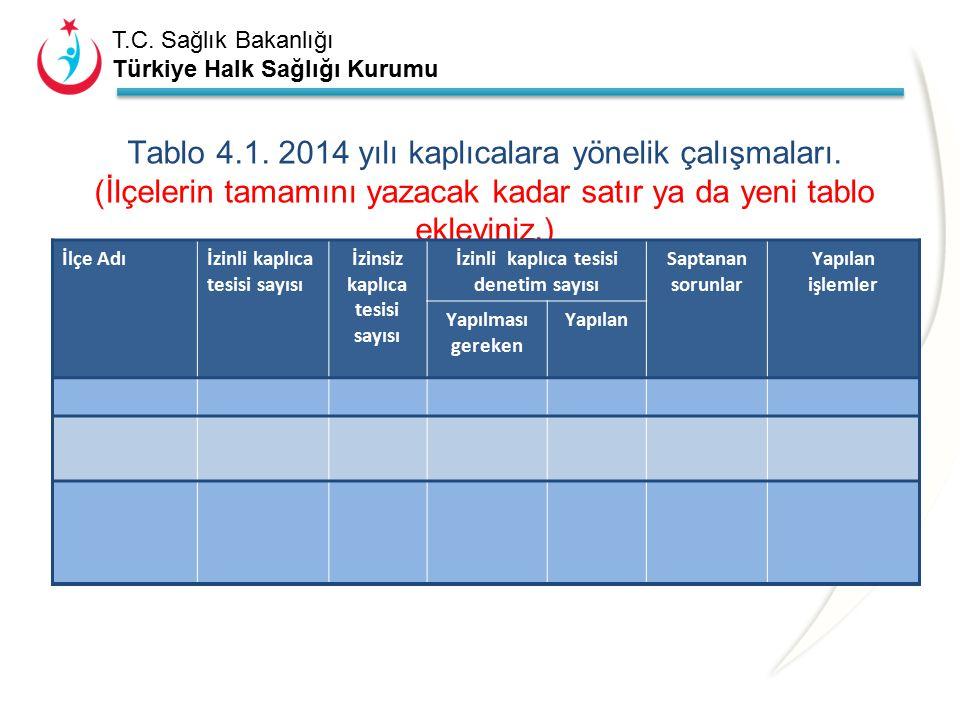 T.C. Sağlık Bakanlığı Türkiye Halk Sağlığı Kurumu 4-KAPLICALARLA İLGİLİ ÇALIŞMALAR