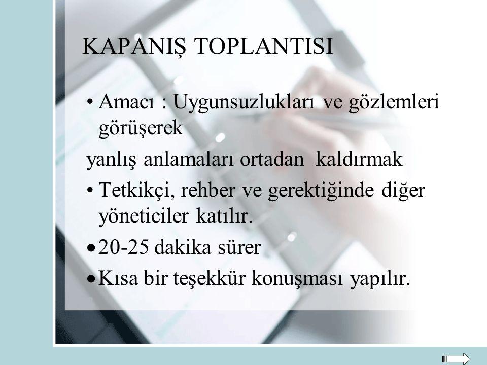 KAPANIŞ TOPLANTISI Amacı : Uygunsuzlukları ve gözlemleri görüşerek yanlış anlamaları ortadan kaldırmak Tetkikçi, rehber ve gerektiğinde diğer yönetici