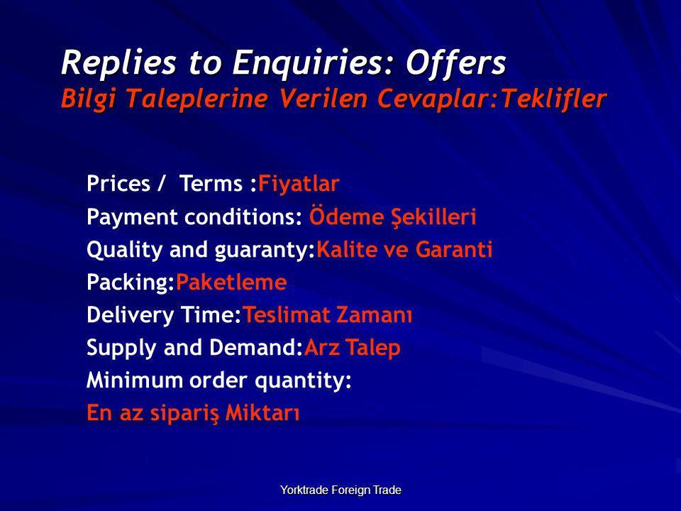 Yorktrade Foreign Trade Replies to Enquiries: Offers Bilgi Taleplerine Verilen Cevaplar:Teklifler Prices / Terms :Fiyatlar Payment conditions: Ödeme Ş