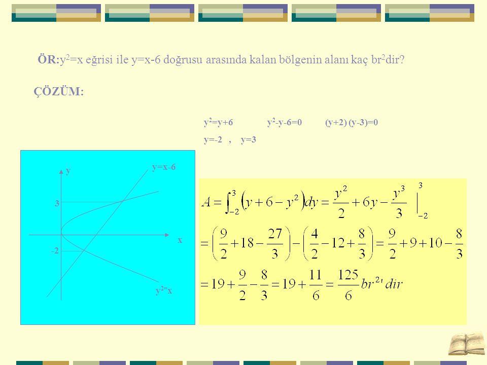ÖR:y 2 =x eğrisi ile y=x-6 doğrusu arasında kalan bölgenin alanı kaç br 2 dir? ÇÖZÜM: y 2 =y+6 y 2 -y-6=0 (y+2) (y-3)=0 y=-2, y=3 y=x-6 y 2= x 3 -2 x