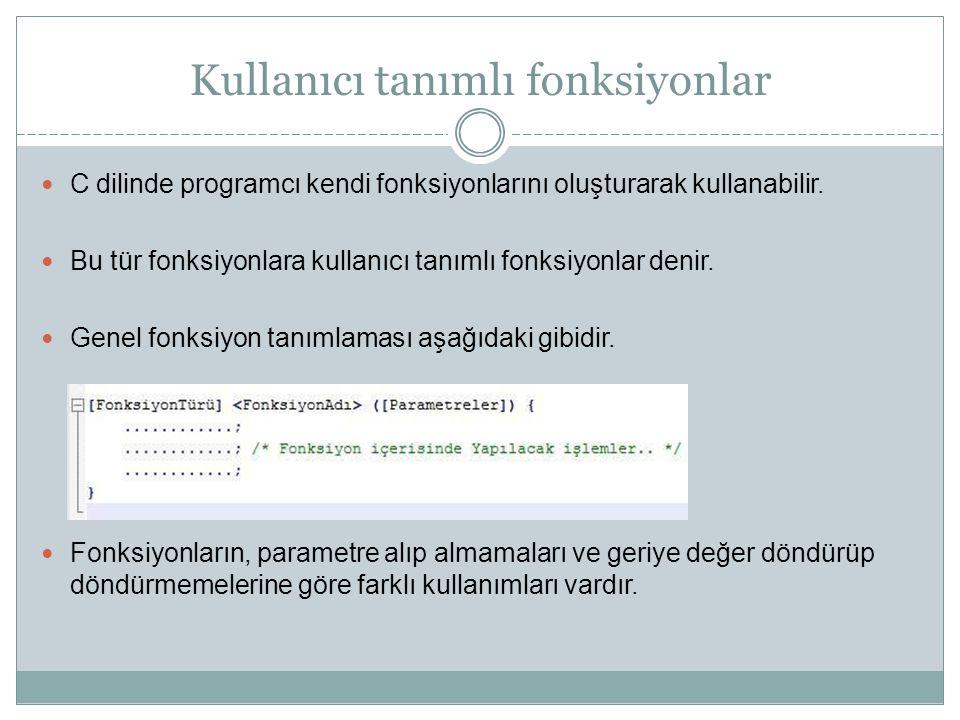 Kullanıcı tanımlı fonksiyonlar C dilinde programcı kendi fonksiyonlarını oluşturarak kullanabilir. Bu tür fonksiyonlara kullanıcı tanımlı fonksiyonlar
