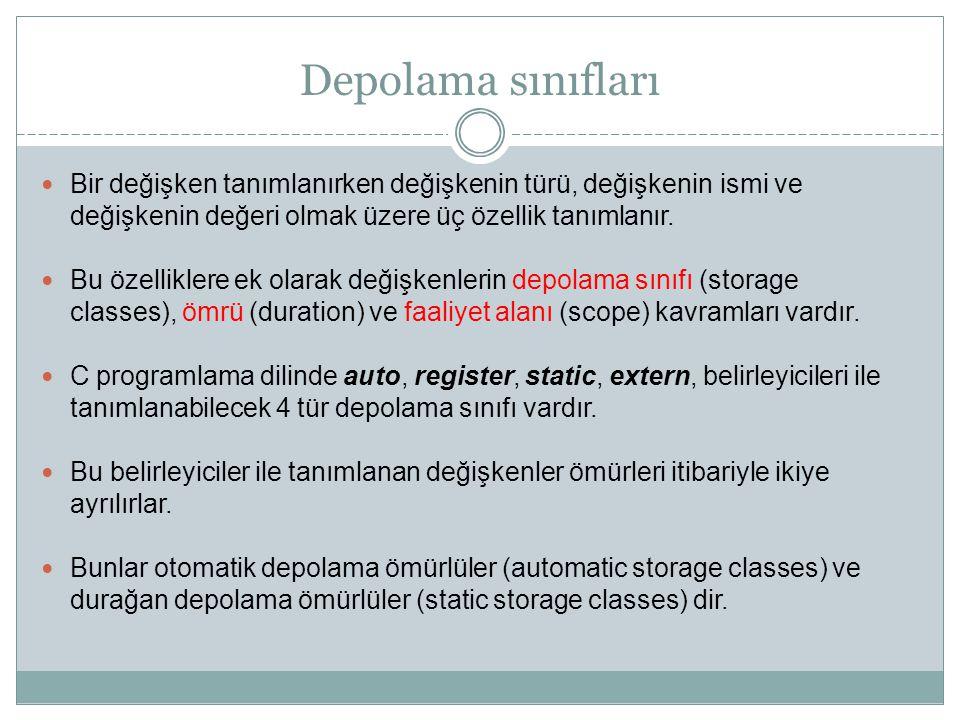 Depolama sınıfları Bir değişken tanımlanırken değişkenin türü, değişkenin ismi ve değişkenin değeri olmak üzere üç özellik tanımlanır. Bu özelliklere