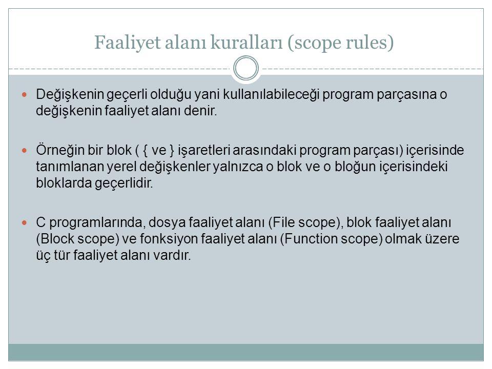 Faaliyet alanı kuralları (scope rules) Değişkenin geçerli olduğu yani kullanılabileceği program parçasına o değişkenin faaliyet alanı denir. Örneğin b