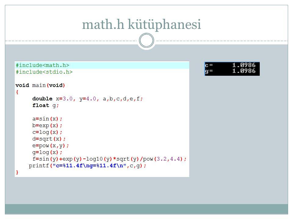 Fonksiyon prototipi tanımlama #include void func1(void); int func2(int, char); void main(void) { int i=1,j=2; char ch='0'; printf( %d %d\n ,i,j); func1(); j=func2(i,ch); printf( %d %d\n ,i,j); } void func1(void) { printf( selam!\n ); }.......