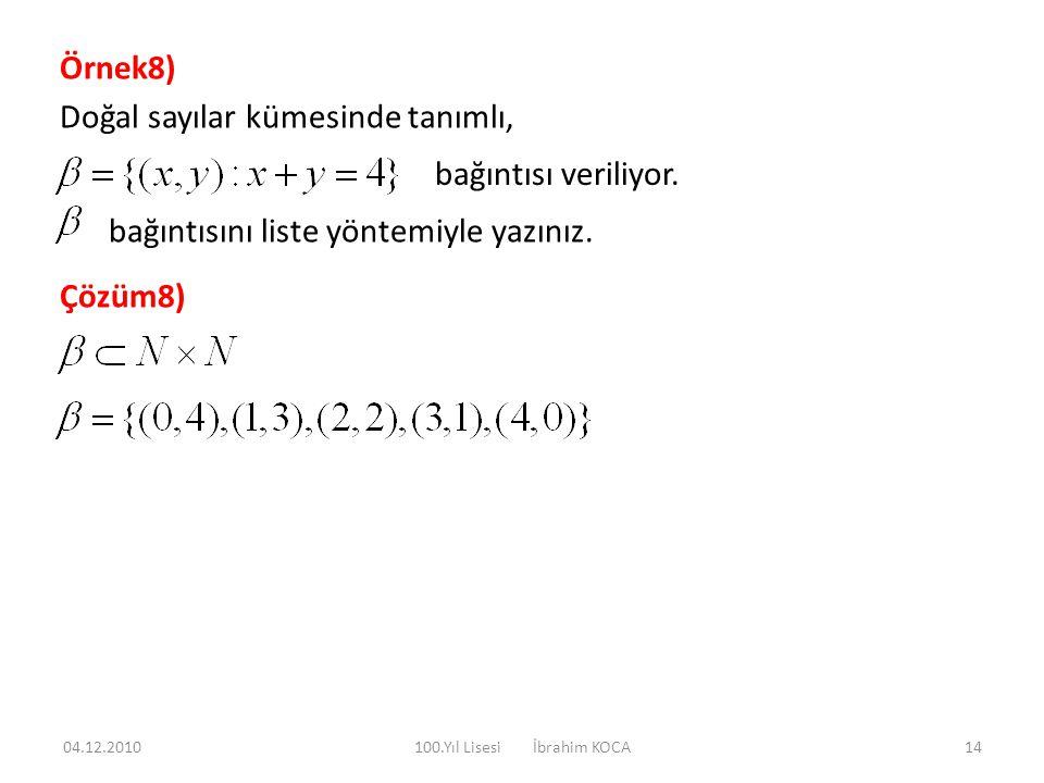 Örnek8) Doğal sayılar kümesinde tanımlı, bağıntısı veriliyor. bağıntısını liste yöntemiyle yazınız. Çözüm8) 04.12.201014100.Yıl Lisesi İbrahim KOCA