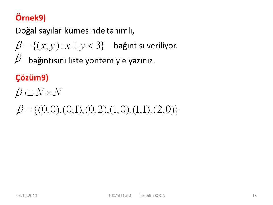 Örnek9) Doğal sayılar kümesinde tanımlı, bağıntısı veriliyor. bağıntısını liste yöntemiyle yazınız. Çözüm9) 04.12.201015100.Yıl Lisesi İbrahim KOCA