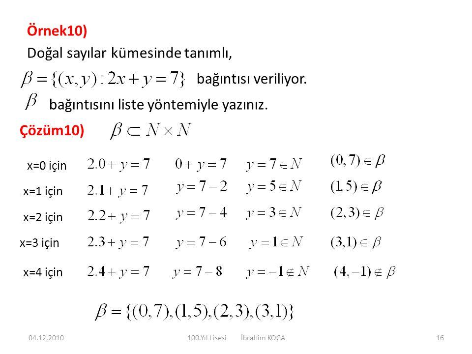 Örnek10) Doğal sayılar kümesinde tanımlı, bağıntısı veriliyor. bağıntısını liste yöntemiyle yazınız. Çözüm10) x=0 için x=1 için x=2 için x=3 için x=4