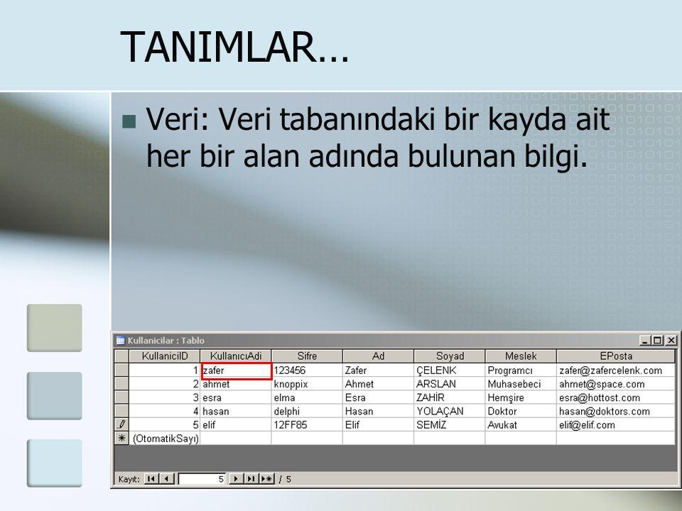 """TANIMLAR… Alan: Veri tabanındaki her sütun bir alandır. Her alan belli bir türdeki veri kümesidir. Örneğin, """"soyadı"""" alanı, """" yaş"""" alanı gibi."""