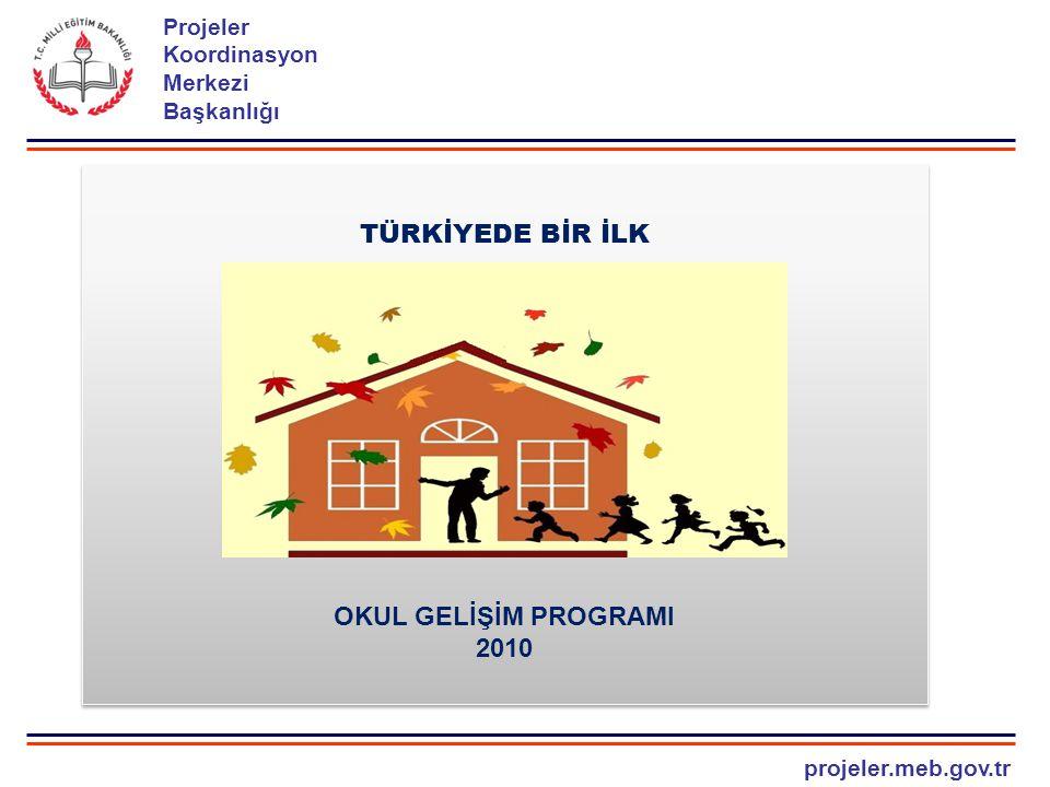 projeler.meb.gov.tr Projeler Koordinasyon Merkezi Başkanlığı OKUL GEL İŞİ M PROGRAMI UYGULAMA SÜREC İ Uygulamada kullanılacak kılavuzların hazırlanması Gerekli duyuruların ve yazışmaların yapılması Okul Gelişim Programının tanıtılması Uygulama sürecini yönetecek ekiplerin belirlenmesi Tanıtım ve bilgilendirme toplantısının yapılması İlçe yönetin ekibinin belirlenmesi Uygulama eğitimlerinin verilmesi