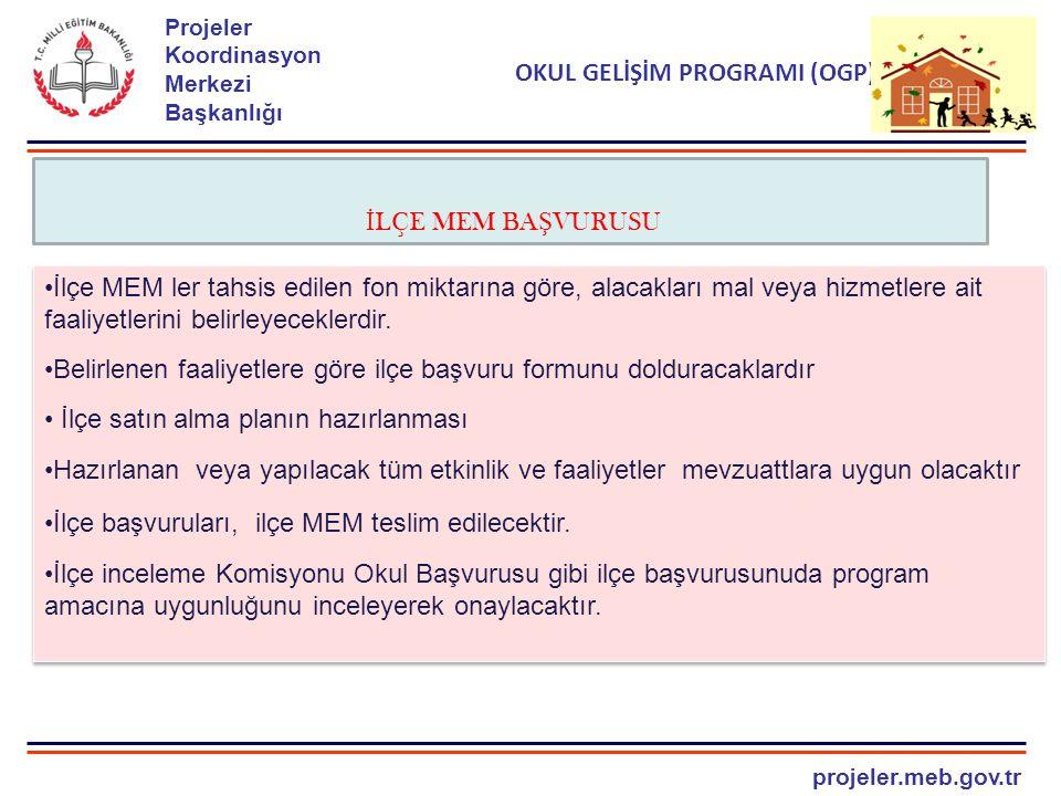 projeler.meb.gov.tr Projeler Koordinasyon Merkezi Başkanlığı OKUL GELİŞİM PROGRAMI (OGP) İ LÇE MEM BA Ş VURUSU İlçe MEM ler tahsis edilen fon miktarın