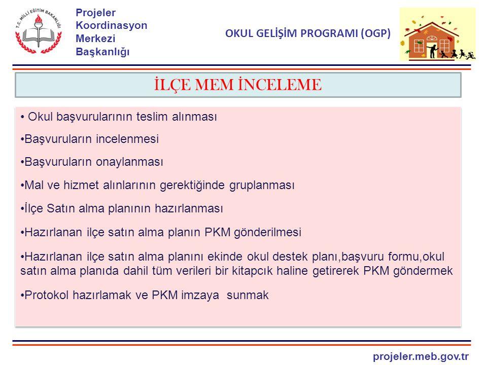 projeler.meb.gov.tr Projeler Koordinasyon Merkezi Başkanlığı OKUL GELİŞİM PROGRAMI (OGP) İ LÇE MEM İ NCELEME Okul başvurularının teslim alınması Başvuruların incelenmesi Başvuruların onaylanması Mal ve hizmet alınlarının gerektiğinde gruplanması İlçe Satın alma planının hazırlanması Hazırlanan ilçe satın alma planın PKM gönderilmesi Hazırlanan ilçe satın alma planını ekinde okul destek planı,başvuru formu,okul satın alma planıda dahil tüm verileri bir kitapcık haline getirerek PKM göndermek Protokol hazırlamak ve PKM imzaya sunmak Okul başvurularının teslim alınması Başvuruların incelenmesi Başvuruların onaylanması Mal ve hizmet alınlarının gerektiğinde gruplanması İlçe Satın alma planının hazırlanması Hazırlanan ilçe satın alma planın PKM gönderilmesi Hazırlanan ilçe satın alma planını ekinde okul destek planı,başvuru formu,okul satın alma planıda dahil tüm verileri bir kitapcık haline getirerek PKM göndermek Protokol hazırlamak ve PKM imzaya sunmak