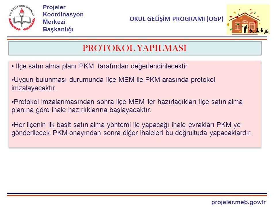projeler.meb.gov.tr Projeler Koordinasyon Merkezi Başkanlığı OKUL GELİŞİM PROGRAMI (OGP) PROTOKOL YAPILMASI İlçe satın alma planı PKM tarafından değerlendirilecektir Uygun bulunması durumunda ilçe MEM ile PKM arasında protokol imzalayacaktır.