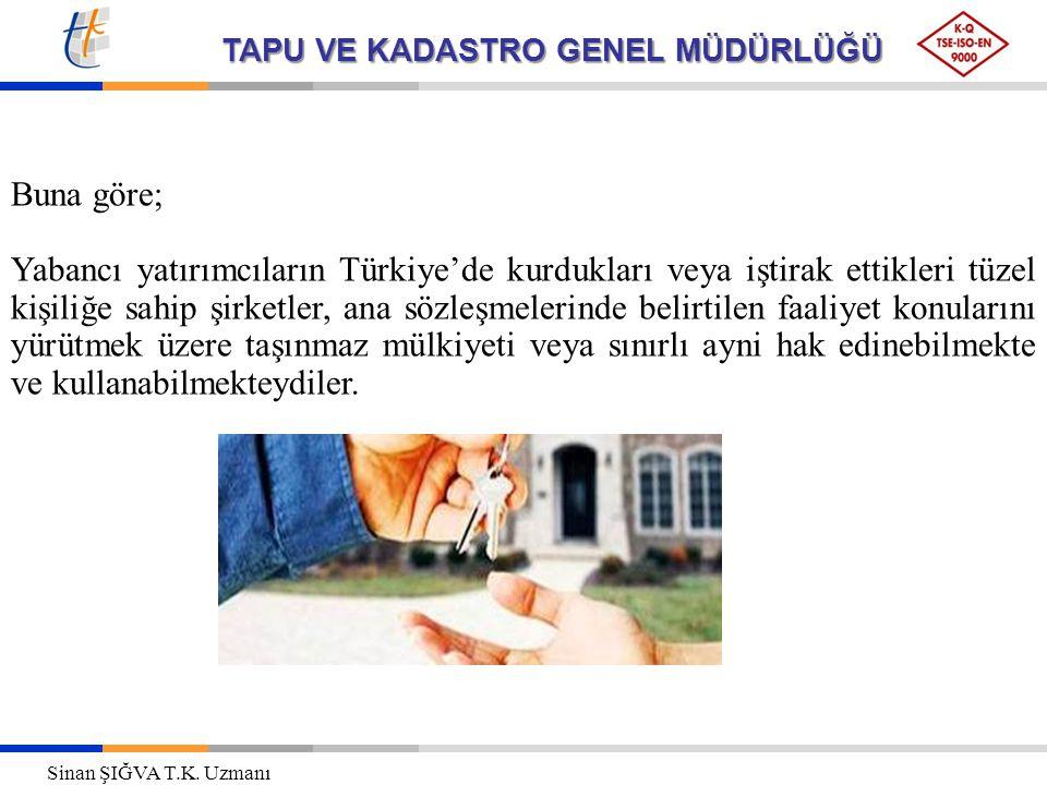 TAPU VE KADASTRO GENEL MÜDÜRLÜĞÜ Buna göre; Yabancı yatırımcıların Türkiye'de kurdukları veya iştirak ettikleri tüzel kişiliğe sahip şirketler, ana sözleşmelerinde belirtilen faaliyet konularını yürütmek üzere taşınmaz mülkiyeti veya sınırlı ayni hak edinebilmekte ve kullanabilmekteydiler.
