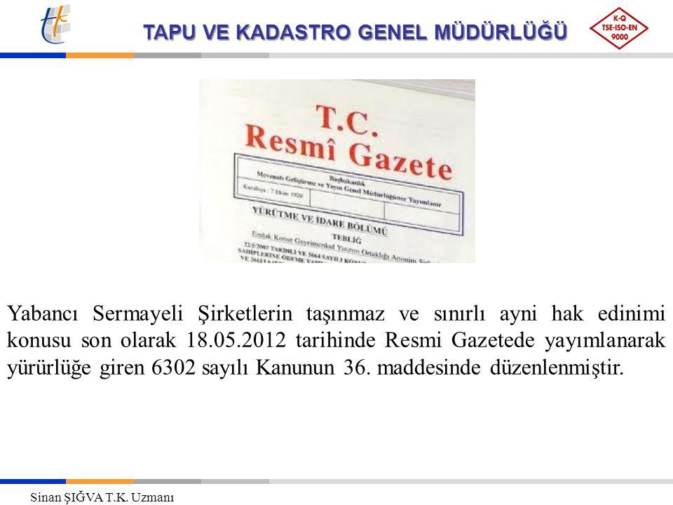 TAPU VE KADASTRO GENEL MÜDÜRLÜĞÜ Yabancı Sermayeli Şirketlerin taşınmaz ve sınırlı ayni hak edinimi konusu son olarak 18.05.2012 tarihinde Resmi Gazetede yayımlanarak yürürlüğe giren 6302 sayılı Kanunun 36.