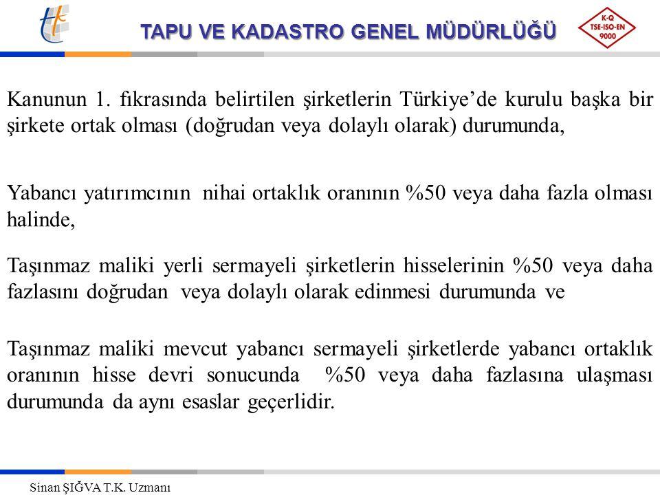 TAPU VE KADASTRO GENEL MÜDÜRLÜĞÜ Kanunun 1. fıkrasında belirtilen şirketlerin Türkiye'de kurulu başka bir şirkete ortak olması (doğrudan veya dolaylı
