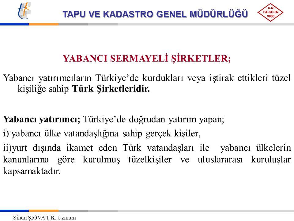 TAPU VE KADASTRO GENEL MÜDÜRLÜĞÜ YABANCI SERMAYELİ ŞİRKETLER; Yabancı yatırımcıların Türkiye'de kurdukları veya iştirak ettikleri tüzel kişiliğe sahip Türk Şirketleridir.