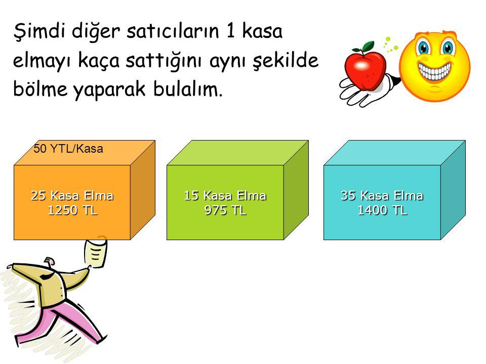 Şimdi diğer satıcıların 1 kasa elmayı kaça sattığını aynı şekilde bölme yaparak bulalım. 25 Kasa Elma 1250 TL 15 Kasa Elma 975 TL 35 Kasa Elma 1400 TL
