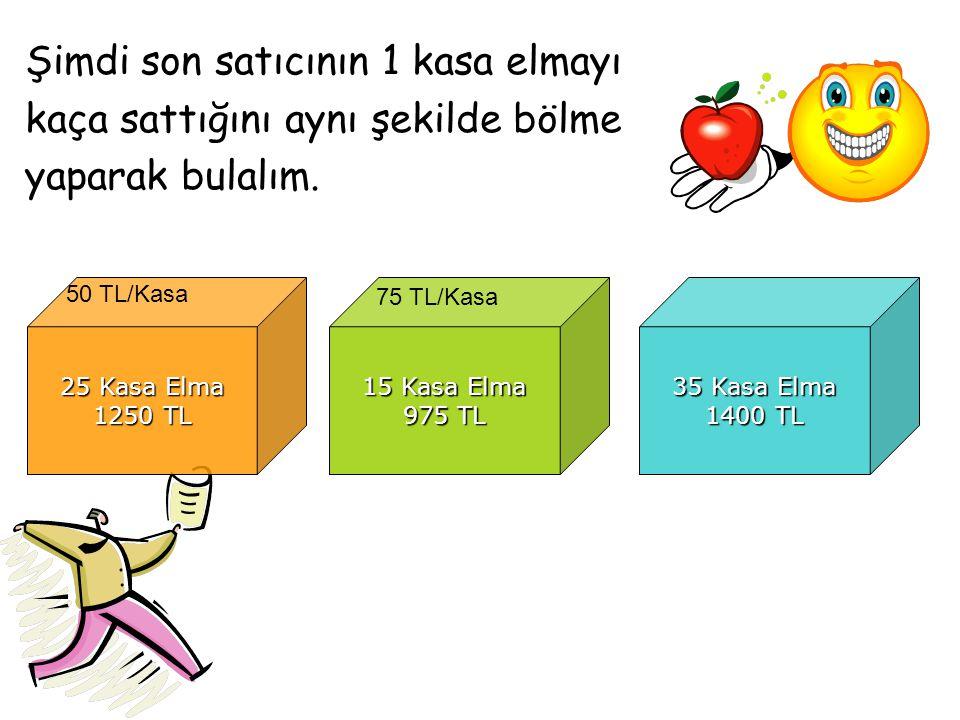 Şimdi son satıcının 1 kasa elmayı kaça sattığını aynı şekilde bölme yaparak bulalım. 25 Kasa Elma 1250 TL 15 Kasa Elma 975 TL 35 Kasa Elma 1400 TL 50