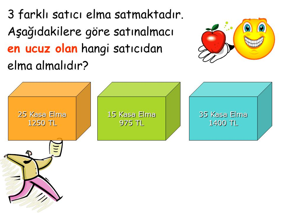 3 farklı satıcı elma satmaktadır. Aşağıdakilere göre satınalmacı en ucuz olan hangi satıcıdan elma almalıdır? 25 Kasa Elma 1250 TL 15 Kasa Elma 975 TL