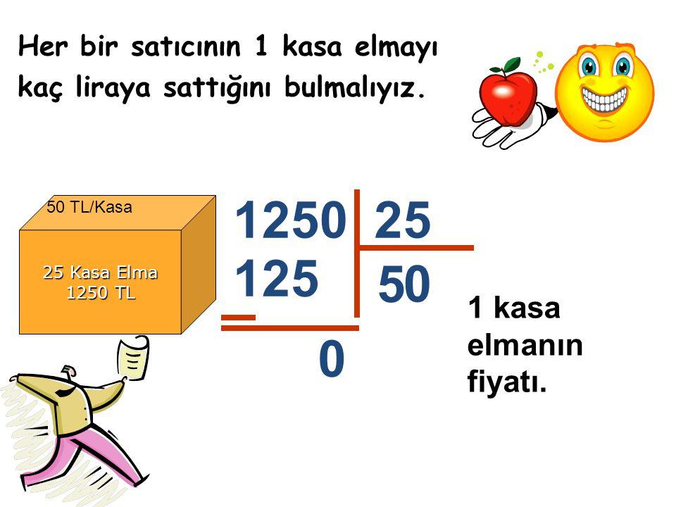 Her bir satıcının 1 kasa elmayı kaç liraya sattığını bulmalıyız. 25 Kasa Elma 1250 TL 125025 5 125 1 kasa elmanın fiyatı. 0 50 TL/Kasa 0