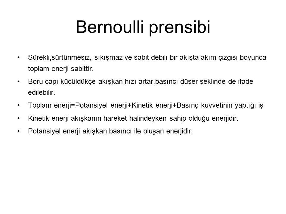 Bernoulli prensibi Sürekli,sürtünmesiz, sıkışmaz ve sabit debili bir akışta akım çizgisi boyunca toplam enerji sabittir. Boru çapı küçüldükçe akışkan