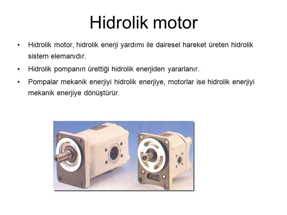 Hidrolik motor Hidrolik motor, hidrolik enerji yardımı ile dairesel hareket üreten hidrolik sistem elemanıdır. Hidrolik pompanın ürettiği hidrolik ene