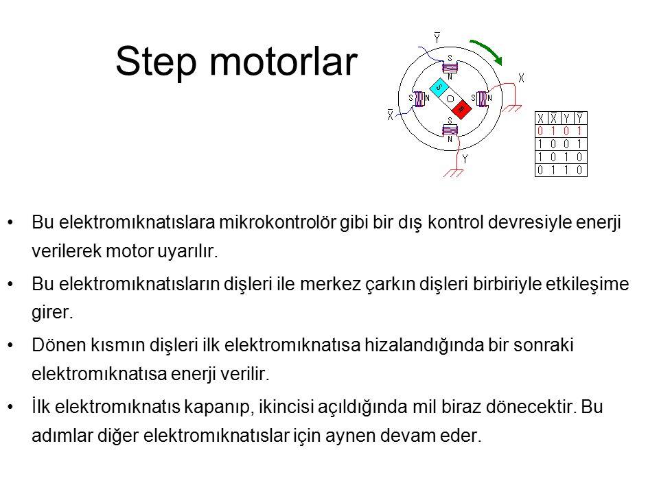 Step motorlar Bu elektromıknatıslara mikrokontrolör gibi bir dış kontrol devresiyle enerji verilerek motor uyarılır. Bu elektromıknatısların dişleri i