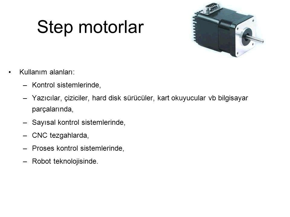 Step motorlar Kullanım alanları: –Kontrol sistemlerinde, –Yazıcılar, çiziciler, hard disk sürücüler, kart okuyucular vb bilgisayar parçalarında, –Sayı
