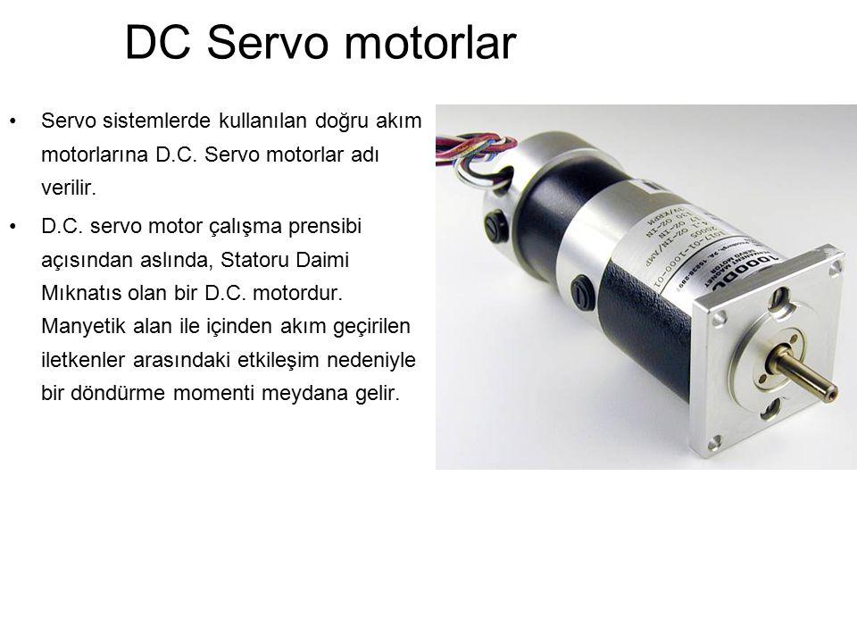 DC Servo motorlar Servo sistemlerde kullanılan doğru akım motorlarına D.C. Servo motorlar adı verilir. D.C. servo motor çalışma prensibi açısından asl