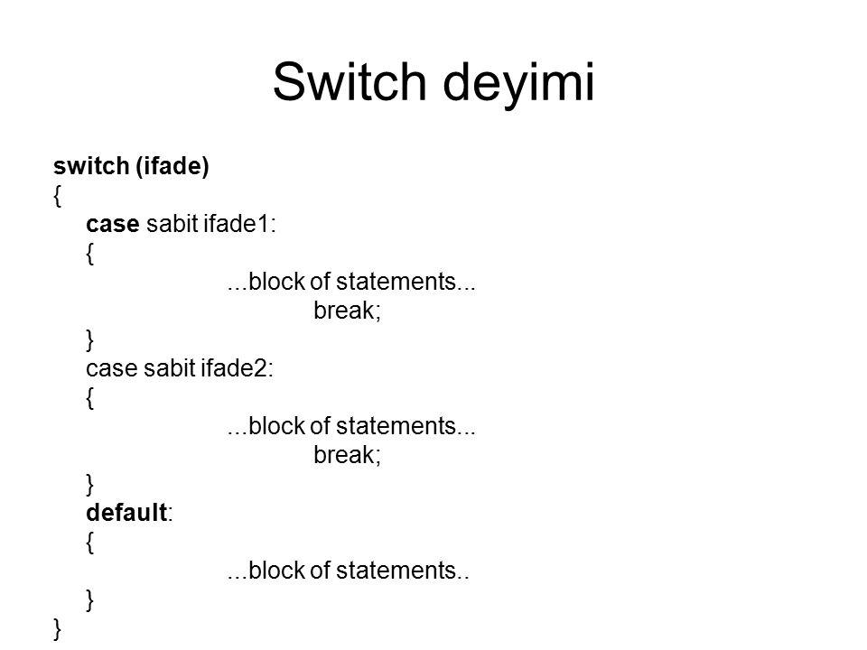 Switch deyimi switch (ifade) { case sabit ifade1: {...block of statements... break; } case sabit ifade2: {...block of statements... break; } default: