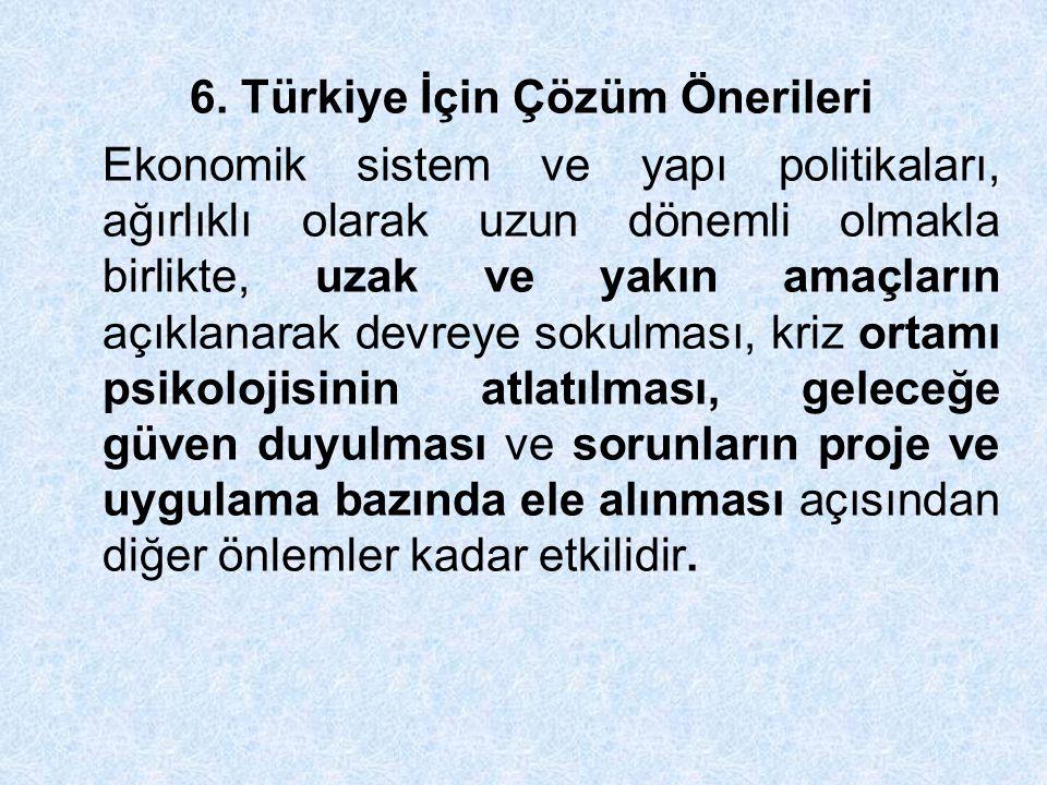 6. Türkiye İçin Çözüm Önerileri Ekonomik sistem ve yapı politikaları, ağırlıklı olarak uzun dönemli olmakla birlikte, uzak ve yakın amaçların açıklana